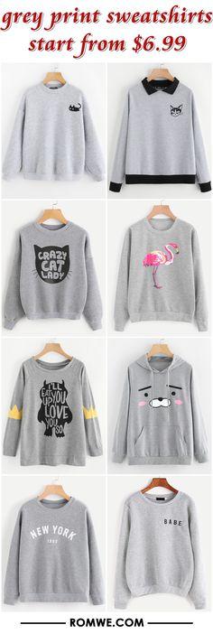 grey print sweatshirts from $6.99 - romwe.com #modafemenina