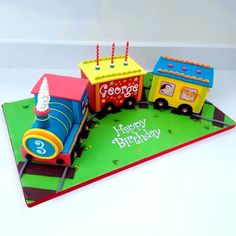 This was a cake was such fun to make – I love using these bright colours and I enjoyed the challenge of working out how to make a realistic 'chassis' platform for the train to sit on. Each of the carriages is a triple layer inch gooey. 3rd Birthday Cakes, Trains Birthday Party, Train Party, 3rd Birthday Parties, Happy Birthday, Gooey Chocolate Cake, Salted Chocolate, Chocolate Buttercream, Carriage Cake