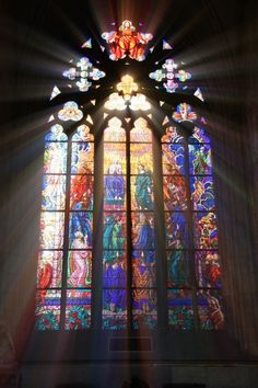 is one of the many stained glass windows in Prague Cathedral.This is one of the many stained glass windows in Prague Cathedral. Prague Cathedral, Cathedral Windows, Church Windows, Cathedral Train, Stained Glass Church, Stained Glass Art, Stained Glass Windows, Window Glass, Glass Partition