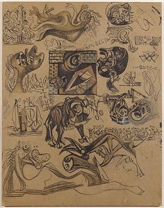 """Jackson Pollock  Untitled - 1939-1942 - Pen, India ink, colored pencils and graphite on paper - H18""""XW11"""" - Metropolitan Museum of Art - Copyright PKF/ARS"""