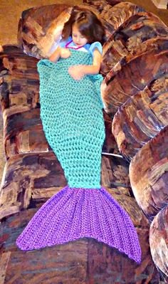Diana in another mermaid tail blanket I made