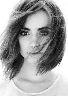Lily Collins - windblown choppy bob.