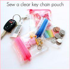 How to sew a clear key chain zipper case.