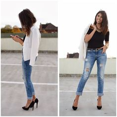 H&M Blazer, Zara Jeans, Missguided Body, Zara Heels