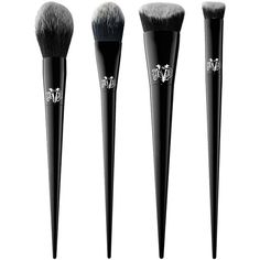 Kat Von D Lock-It Concealer Creme, Setting Powder, New Brushes for... ❤ liked on Polyvore featuring beauty products, makeup, makeup tools, makeup brushes, kat von d and kat von d makeup brushes