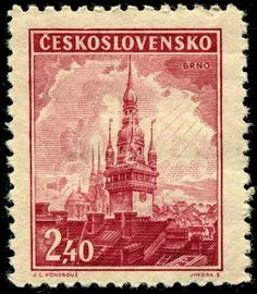 Stamp: Brno - Town hall tower (Czechoslovakia) (Castles, landscapes and cities) Mi:CS 438 Czech Tattoo, Rare Stamps, Interesting Buildings, Town Hall, Stamp Collecting, Postage Stamps, Art Forms, European Countries, Vintage World Maps