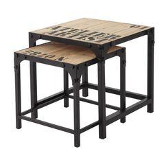 2 metalen en houten industriële salontafels B 45 cm