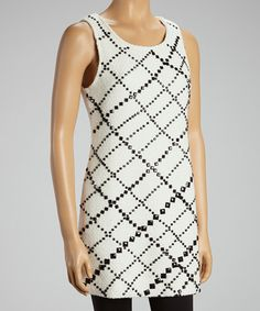 Take a look at this White & Black Plaid Embellished Dress by Fumblin' Foe on #zulily today!