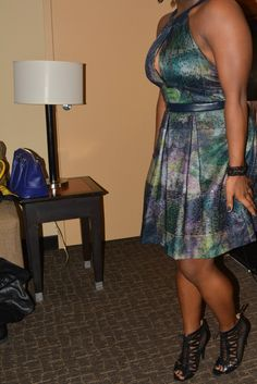 Finished NYE look with Neiman Marcus Phobe Couture dress. Black Charming Charlie accessories and Nine West shoes (from Off Broadway)