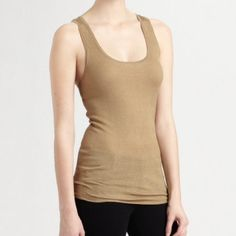 Jean Colonna Dark Sand Lrg Racerback Tank Top NWT Jean Colonna Dark Sand Racerback Tank Top, long and lean, in finely ribbed, slightly sheer silk knit with a sporty Racerback..  Scoop neck sleeveless.  100% silk,  Large NWT Jean Colonna  Tops Tank Tops