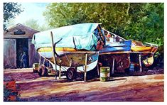 "Skippool boatyard by Graham Berry Watercolor ~ 12"" x 19"""