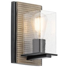 The Millwright Wall Sconce is lodge inspired with a beautifully modern wood treatment. http://www.ylighting.com/kichler-millwright-wall-sconce.html