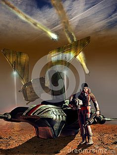 Serious cute young woman into a space suit, close to her space fighter. In the background, a spaceship landing and several spaceships exploding.