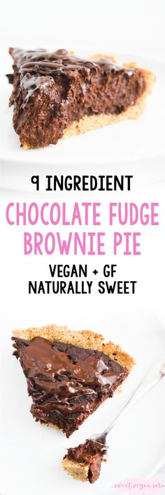 Rich gooey and full of dark chocolate flavor this vegan chocolate fudge brownie pie is perfect for thanksgiving or whenever a cocoa craving strikes. Made with 9 healthy ingredients gluten free and naturally sweet. Vegan Sweets, Vegan Desserts, Dessert Recipes, Vegan Recipes, Delicious Recipes, Free Recipes, Fudge Brownie Pie, Chocolate Fudge Brownies, Thanksgiving Drinks