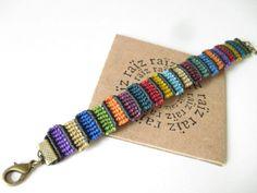 MOSAIC Colourful Bracelet Textile Macramé Multicolored by raiz