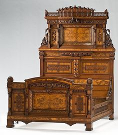Victorian bedstead, carved and inlayed, Renaissance Revival form