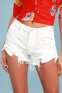 Loving Good Vibrations White Distressed Cutoff Denim Shorts 3