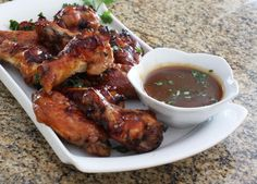 These great tasting chicken wings are made with honey, soy sauce, and plenty of garlic. Serve as a snack or appetizer, or as an entree for a tasty family meal.
