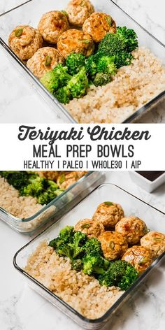 This teriyaki chicken meatball meal prep recipe is great for prepping on the wee.This teriyaki chicken meatball meal prep recipe is great for prepping on the weekend to have lunches or dinners for the week! It's paleo, AIP and an Clean Eating Recipes, Clean Eating Snacks, Healthy Eating, Healthy Cooking, Eating Raw, Eating Well, Paleo Menu, Paleo Diet, Paleo Meal Prep