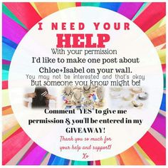 Just one post on your FACEBOOK WALL and you'll be entered in the drawing. COMMENT YES TO ENTER....in the meantime check out my boutique www.chloeandisabel.com/boutique/angelaflowers THANKS IN ADVANCE!!!