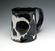 HALLOWEEN MUG Skull & Crossbones Pint Mug by NicolePangasCeramics