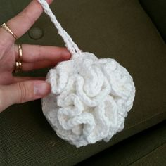 Crocheted bath puff www.facebook.com/sabbiedesign Bath, Facebook, Christmas Ornaments, Holiday Decor, Crochet, Pattern, Crafts, Design, Home Decor