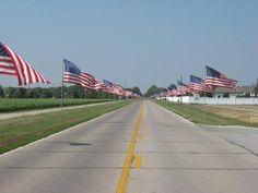 Flags on Military  Fremont NE