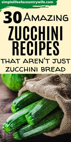 Are you looking for things to make with zucchini?  Here are 30 awesome recipes, both savory and sweet, that you can use zucchini in. Zucchini Side Dishes, Veg Dishes, Zucchini Bread, Vegetable Dishes, Canned Zucchini, Zuchinni Recipes, Vegetable Recipes, Real Food Recipes, Cooking Recipes