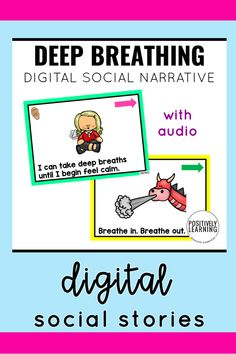 Imagine having a social story read TO you! These digital sets have pictures, text, and AUDIO. Targeting calming strategies are students need: counting, deep breaths, taking a break, and safe hands and feet.