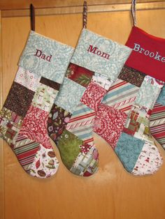 Large Patchwork Christmas Stocking on Etsy, $40.00 - I like the patchwork, but not so much blue