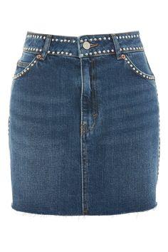MOTO Studded Denim Skirt