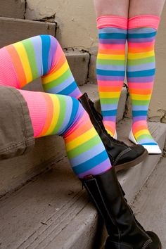 A brighter, pastel-neon version of the classic  Acrylic Rainbow Thigh Highs , they're thin socks that are soft and stretchy.  And super duper colorful and bright and even react a little to blacklight!