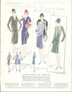 McCall 5069 by Premet, 5050 by Worth, 5064 by Lelong and 5047 by Patou in McCall's magazine, October 1927