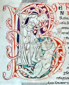 12th century (1185-1195) Austria - Heiligenkreuz Stiftsbibliothek.  cod. 11: Legendarium austriacum fol. 124v - initial B with St Juliana of Nicodemia. http://tethys.imareal.oeaw.ac.at/realonline/ no. 003278.