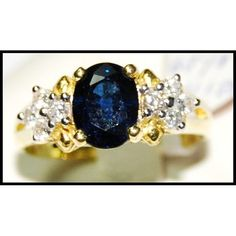 __undefined__ Natural Blue Sapphire Diamond Solitaire Ring by BKGjewels Sapphire Solitaire Ring, Sapphire Pendant, Blue Sapphire Rings, Sapphire Earrings, Sapphire Diamond, Emerald Rings, Ruby Rings, Jewelry Dresser, Cute Jewelry