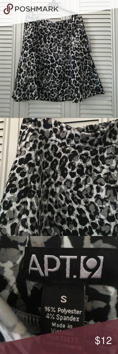 "Apt 9 Circle Skirt NWT cute animal print (black/grey/white/tan) poly/spandex skirt waist is 15"" across length is 18"" Apt. 9 Skirts Circle & Skater"
