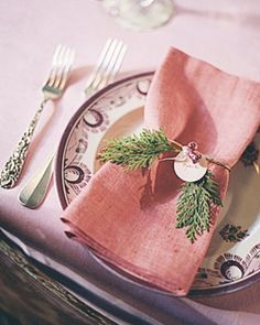 Set your table for a holiday get-together with homemade place cards. My favorite is the mini-tree. Pink Christmas, Beautiful Christmas, Christmas Holidays, Beach Christmas, Christmas Place, Merry Christmas, Celebrating Christmas, Woodland Christmas, Victorian Christmas