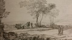 """LANDSCAPE WITH AENEAS AND THE CUMAEAN SIBYL. 1677. pen with brown wash and some heightening. 22,5 × 37,7 cm. Signed and dated """" CLAVDIO. IVF / ROMAE 1677 """". London. British Museum. Inv. No. Oo. 7 - 147  ( MRD 1106 )."""