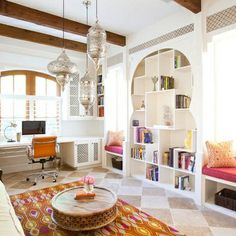 love the eclectic elements in this home office. surrounded by inspiration! eclectic home office by Laura U, Inc. Home Office Design, Interior Design Kitchen, Modern Interior, Interior Architecture, House Design, Kitchen Designs, Office Designs, Staircase Architecture, Library Architecture