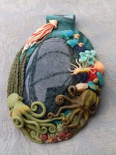 Stunning polymer clay pendant w/ moss agate by PipiLottaSoulCraft on DeviantArt Polymer Clay Mermaid, Polymer Clay Fish, Polymer Clay Ornaments, Polymer Clay Canes, Polymer Clay Flowers, Polymer Clay Necklace, Polymer Clay Pendant, Polymer Clay Creations, Handmade Polymer Clay