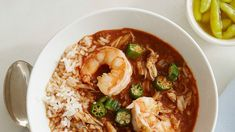 Our food editor Lauryn Tyrell tweaked her grandma's recipe to make a gumbo for the ages! Sauteed okra is the perfect foil for the rich flavors in this Louisiana shrimp-and-crab stew. Lobster Recipes, Shrimp Recipes, Fish Recipes, Shrimp Meals, Gumbo Recipes, Shrimp Dishes, Cajun Recipes, Veggie Recipes, Soup Recipes