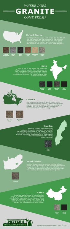 Granite Monument Colors come from specific regions of the world. Learn where they are quarried and how each color is unique.