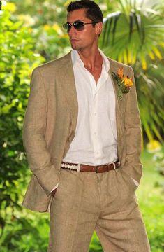 SKU#TSM02 Men's 100% Linen Suit in Tan $249   MensITALY