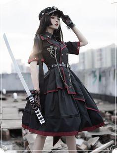 ChunLu -BaiZhe ShiChen- Military Lolita OP Dress and Match Hat Kawaii Fashion, Lolita Fashion, Girl Fashion, Style Lolita, Gothic Lolita, Old Fashion Dresses, Fashion Outfits, Pretty Outfits, Pretty Dresses