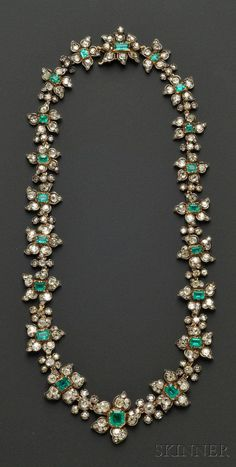 Antique Emerald and Diamond Necklace, France