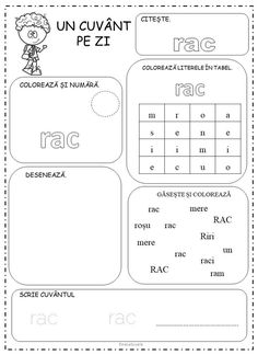One Word A Day Kindergarten Worksheets in Romanian Dinosaur Classroom, Classroom Rules, Preschool At Home, Preschool Learning, One Word, Word Of The Day, Romanian Language, Alphabet Games, Learning To Write