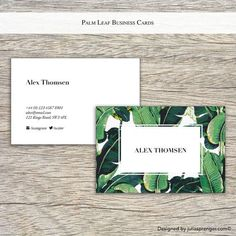 100x Business Cards Botanical Tropical Palm Leaf Style