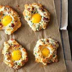 Eggs in Clouds - RachelRae.com  Seriously, even if it didn't taste good I'd look at these pretty little rays of sunshine! Stunning!