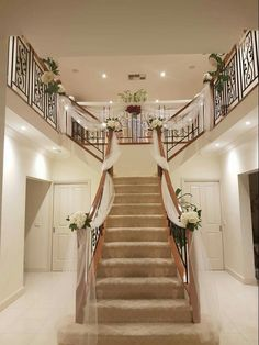 Wedding preparation. Staircase decor