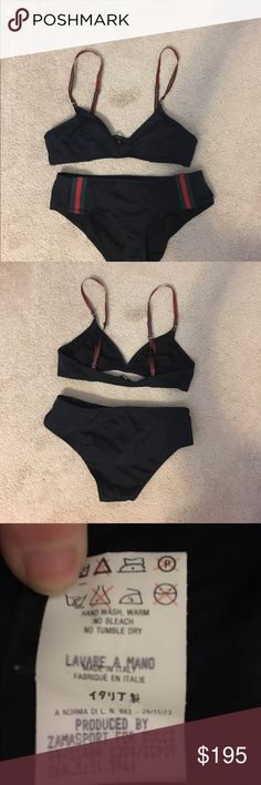Authentic Gucci swimsuit Gucci two piece swimsuit. Classic Gucci stripe. Size med. Gucci Swim Bikinis